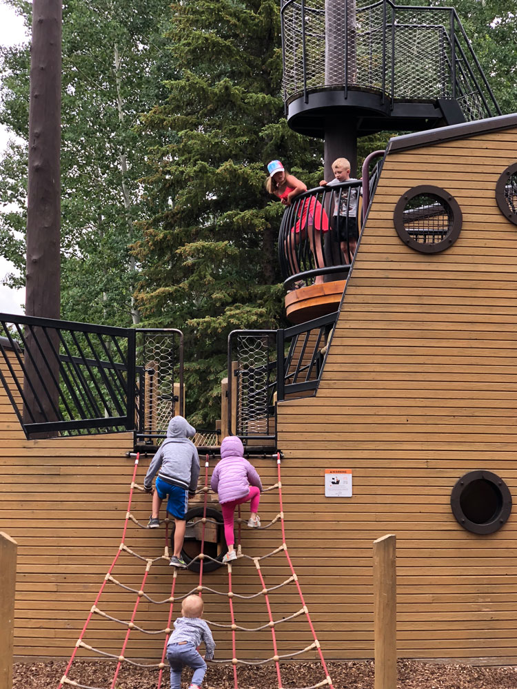 Kids love climbing the ship at Pirate Ship Park in Vail.