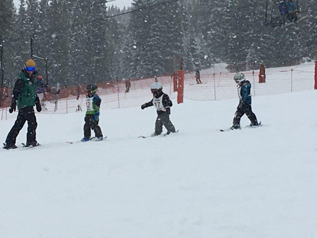 Ski lessons at Ski Cooper outside of Leadville, Colorado.