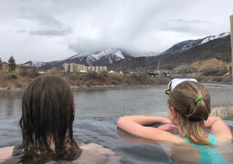 Natural hot springs on the river at Iron Mountain Hot Springs.