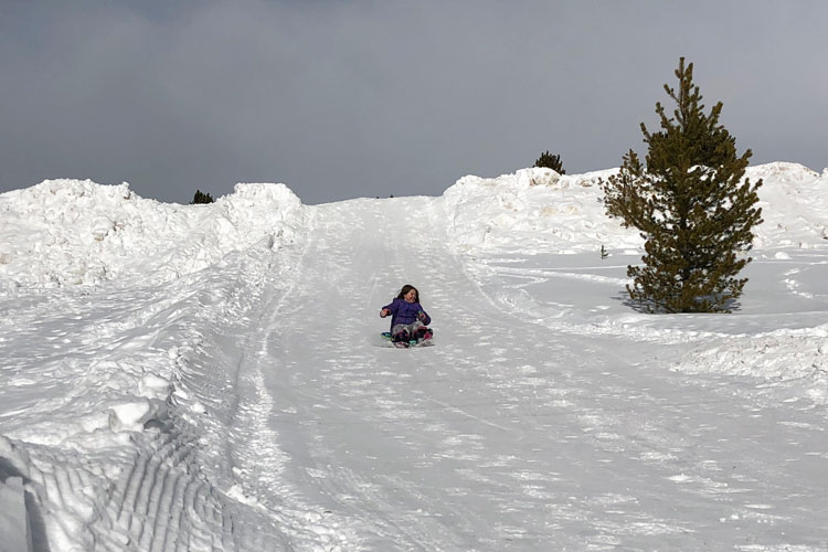 Fun sledding in Leadville, Colorado, where you are almost guaranteed lost of snow.