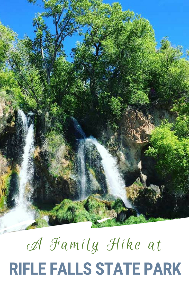 With 3 trails that loop 1 - 1.5 miles through waterfalls, limestone caves and ponds Rifle Falls State Park is the perfect hike for families with young kids. Find out more about one of Colorado's State Parks and why it is great for families. #ColoradoTravel #VisitColorado #RifleFalls #Hiking #FamilyHikes
