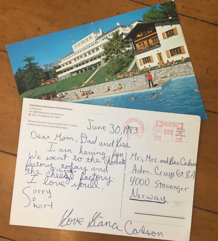 Lavelle Carlson ponders the experience of having sent her 10-year-old daughter to International Summer Camp Montana in Switzerland for three weeks in 1982.