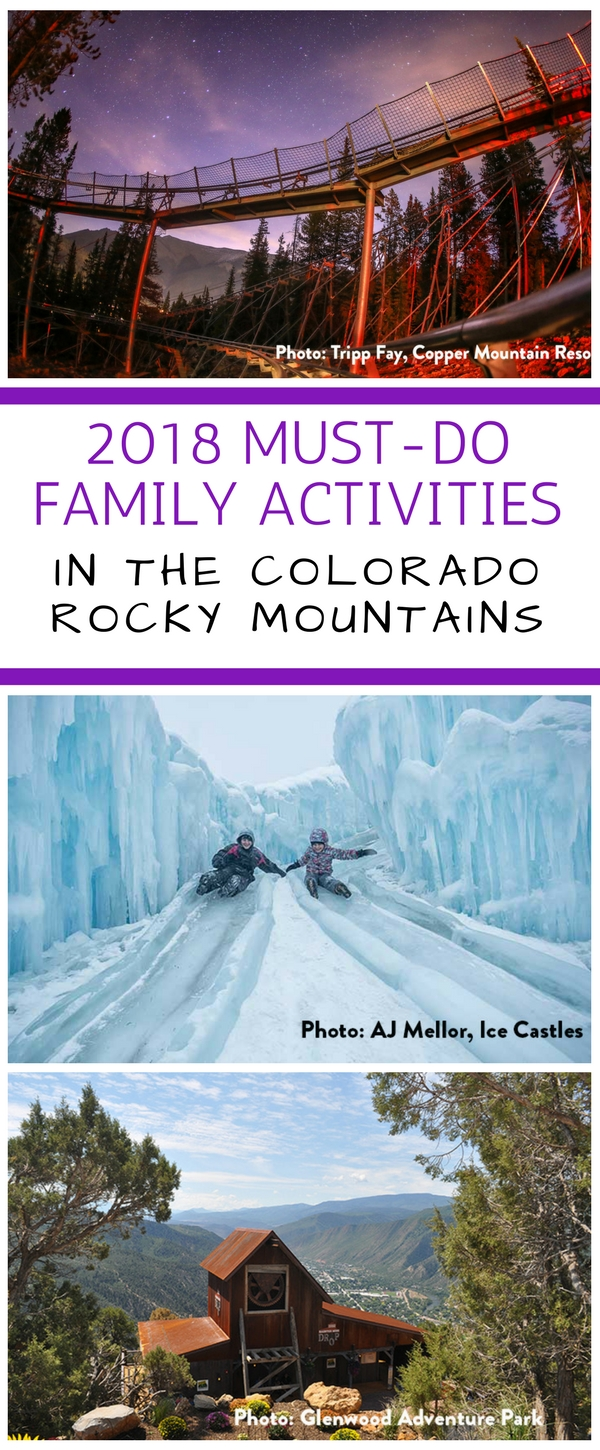 From new alpine coasters to thrill rides and ice castles, there's sure to be something for everyone on our list of 2018 top 3 family attractions in the Colorado Rockies. #familyvacation #skiresorts #alpinecoasters #thrillrides