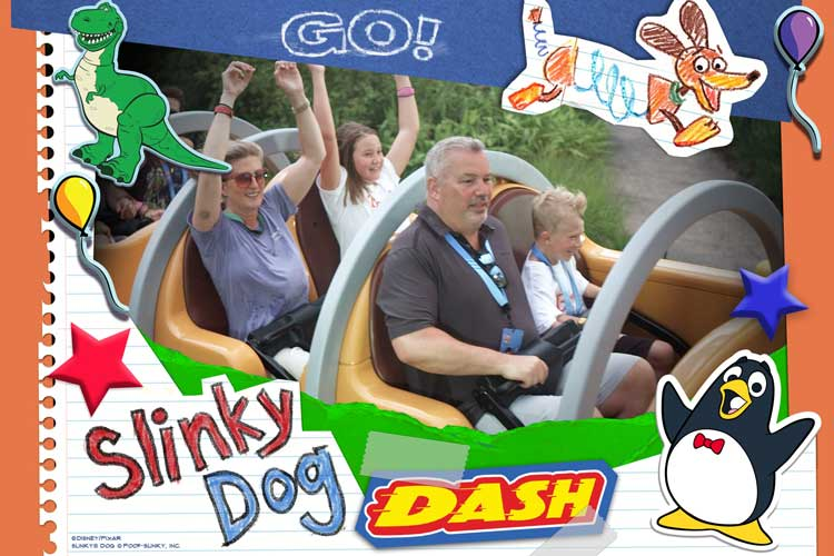 Fun on the Slinky Dog Dash at Toy Story Land.