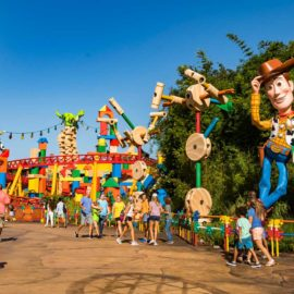 Woody greets visitors to Toy Story Land at Hollywood Studios Disney World. Photo: Disney parks