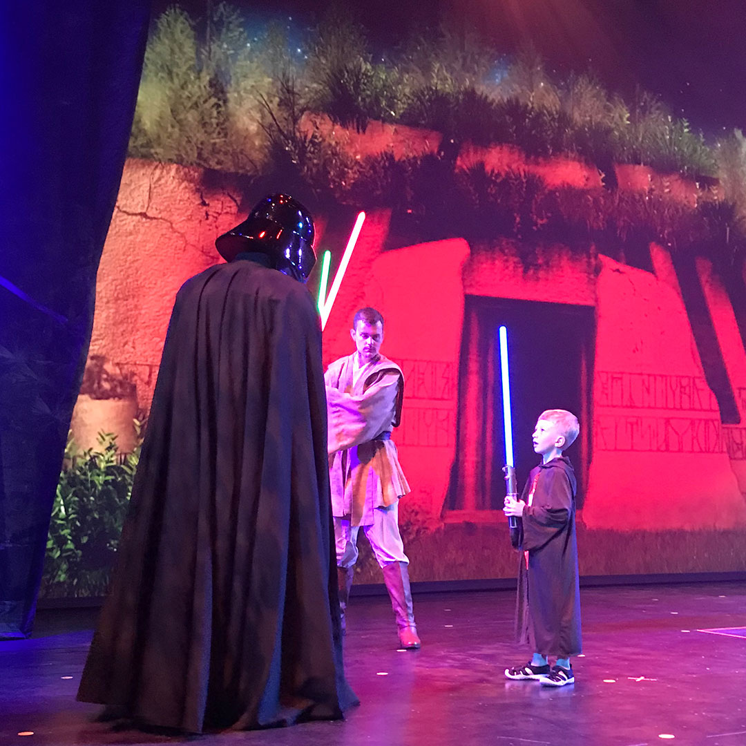 Fighting Darth Vader at Jedi Training during Star Wars Day at Sea.
