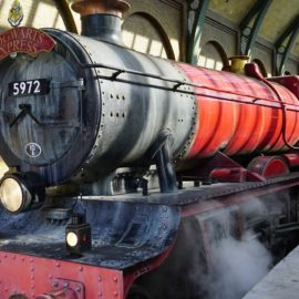 Ride the ride the Hogwarts Express between Universal Studios Florida and Islands of Adventure.