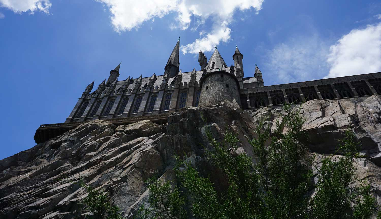 Hogwarts Castle towers at Islands of Adventure at the Wizarding World of Harry Potter.