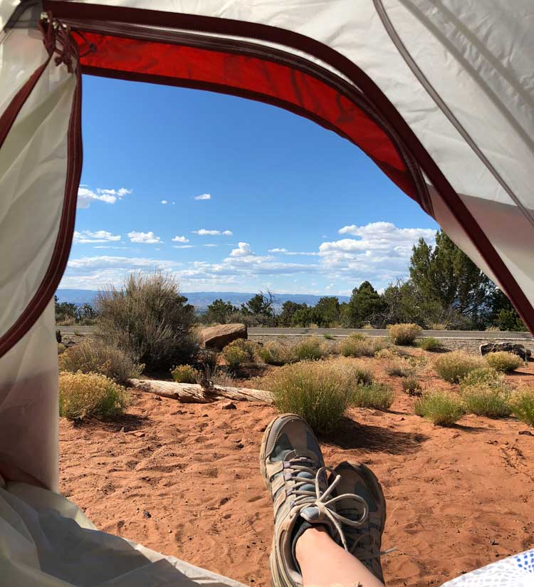 Tent view at Colorado National Monument