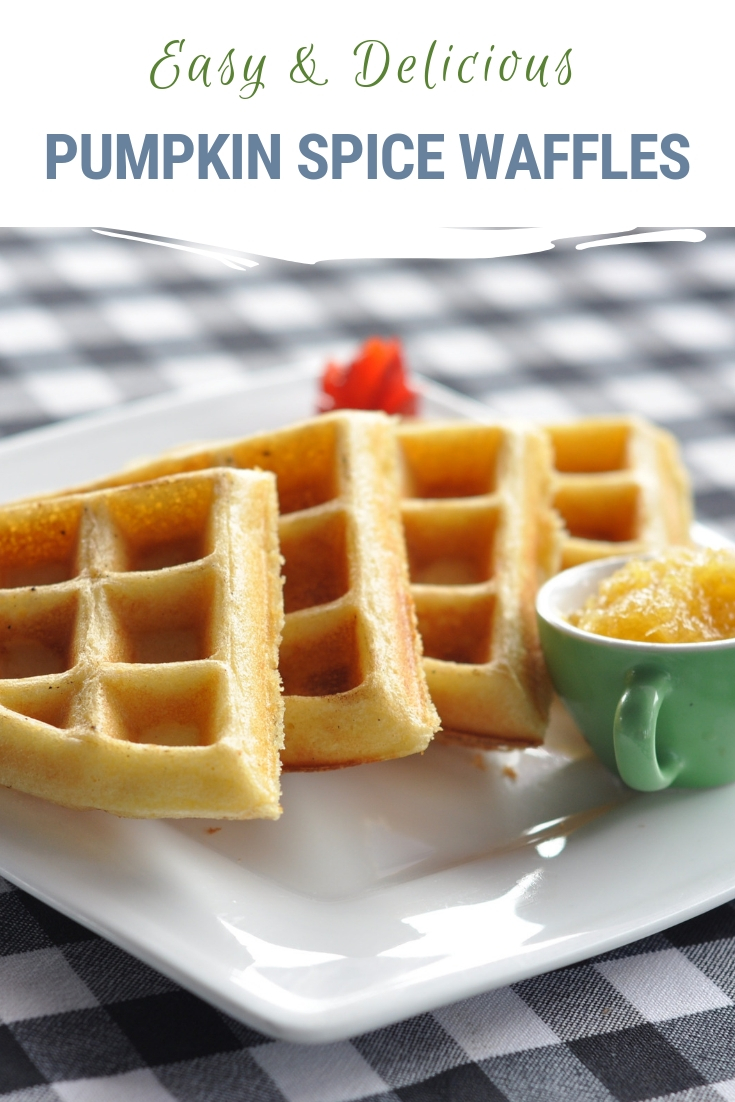 Easy and delicious pumpkin spice waffles make a healthy weekend breakfast for the family and easy reheatable breakfasts for school days. Plus they are chock full of nutrients for your growing kiddos. Get our recipe here! #pumpkinspice #waffles