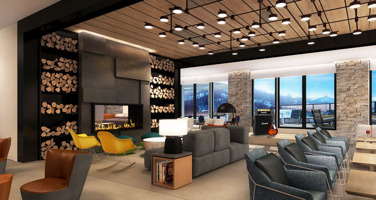 New lounge at the Limelight Hotel Snowmass.