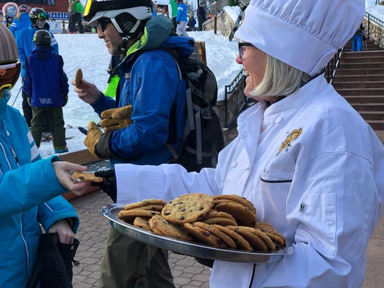 Enjoying warm chocolate chip cookies at Beaver Creek.