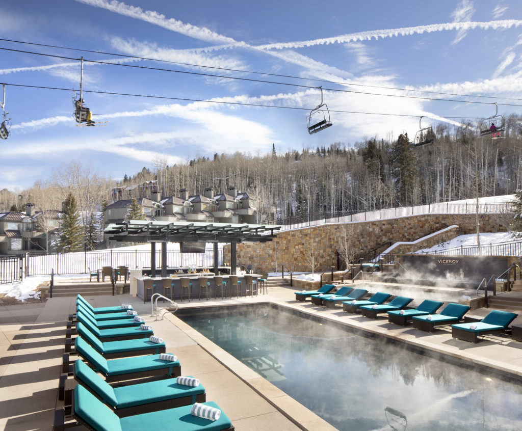 The pool at the Viceroy Snowmass also has slopeside views.