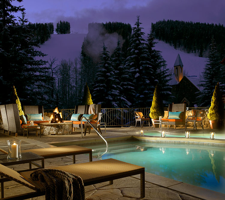 A warm Colorado winter pool at the Osprey in Beaver Creek.