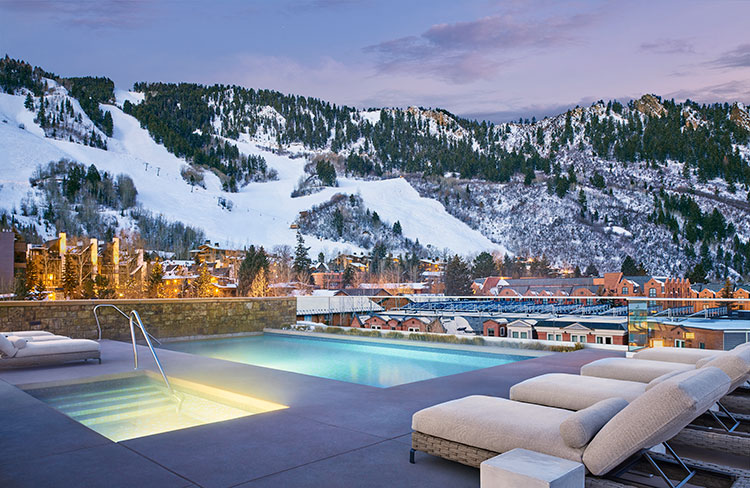 Winter views of Aspen Mountain from the heated rooftop pool of the Residences Little Nell.