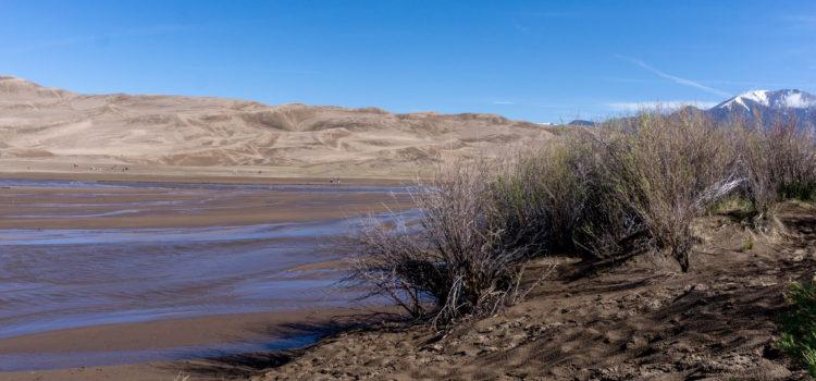 Surge flow at Medano Creek at Great Sand Dunes National Park.