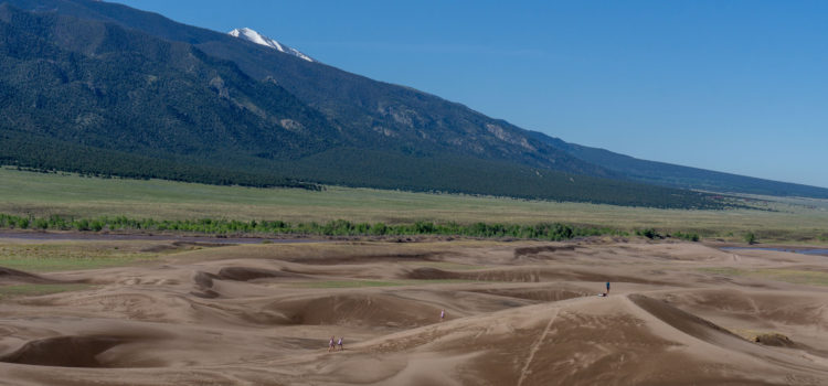 The Great Sand Dunes set behind snow capped mountains, green fields and a stream.