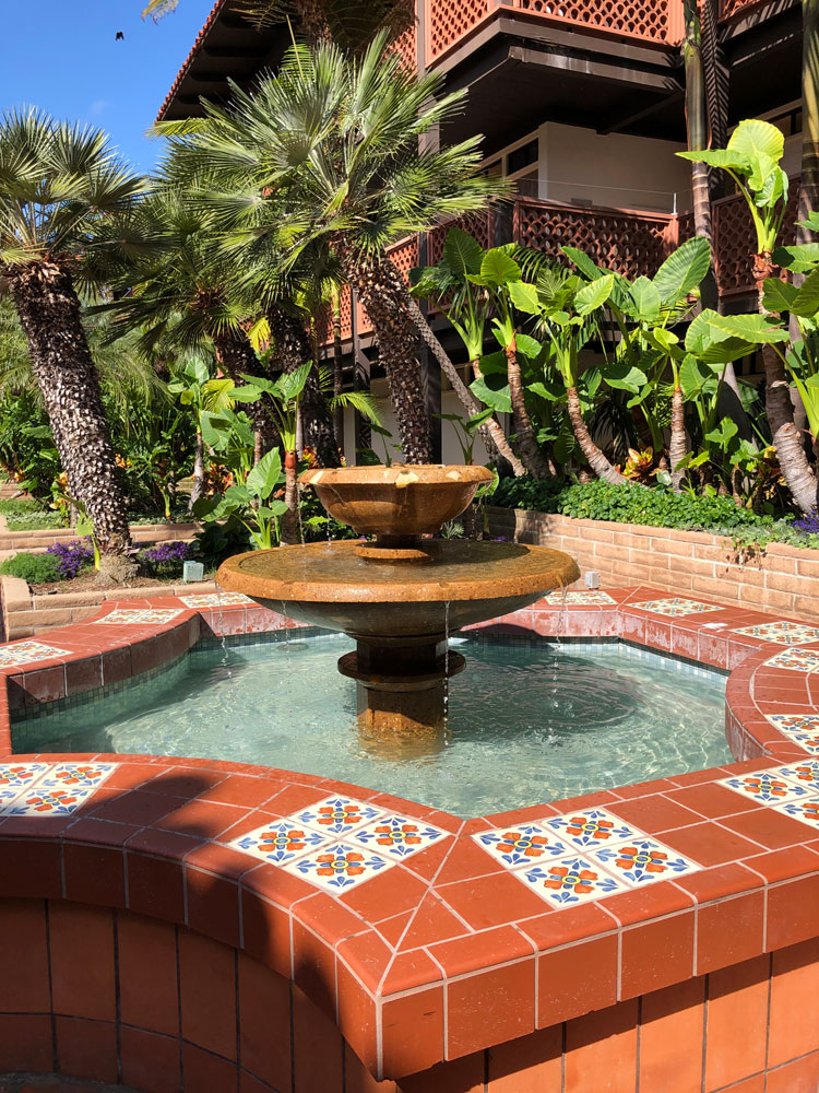 Peaceful fountains at La Jolla Shores Hotel