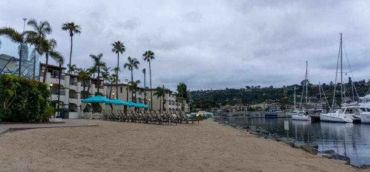 The beach and marina on Shelter Islan San Diego, dusk at Kona Kai Resort
