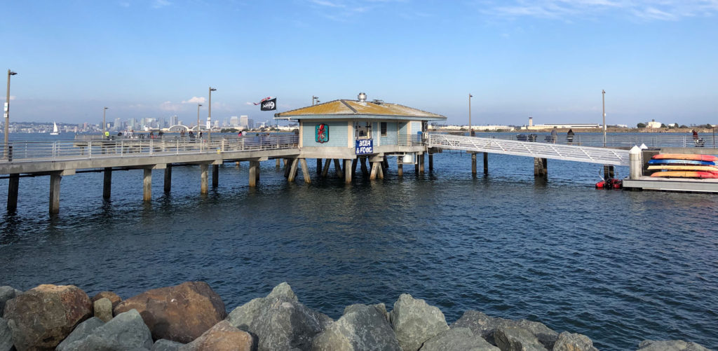 The Shelter Island San Diego pier is popular with fishermen as well as Pelicans and Sea Gulls.