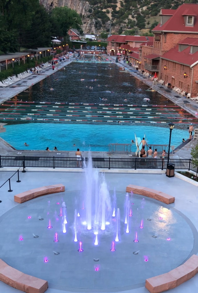 The colorful moving waters of The Grand Fountain at the new Sopris Splash Zone at Glenwood Hot Springs Pool.
