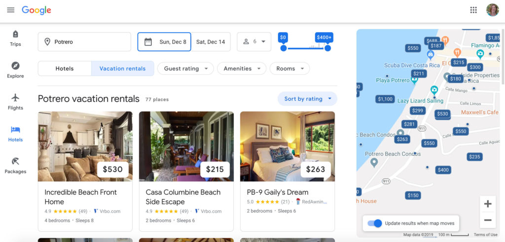 Vacation rental listings on Google Hotels