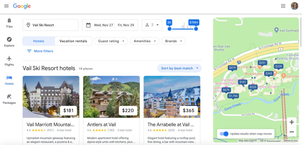 Google maps as a trip planner