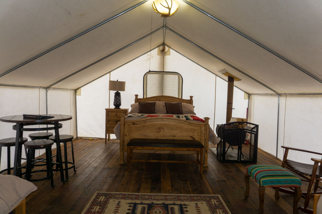 Glamping tent at Piney River Ranch