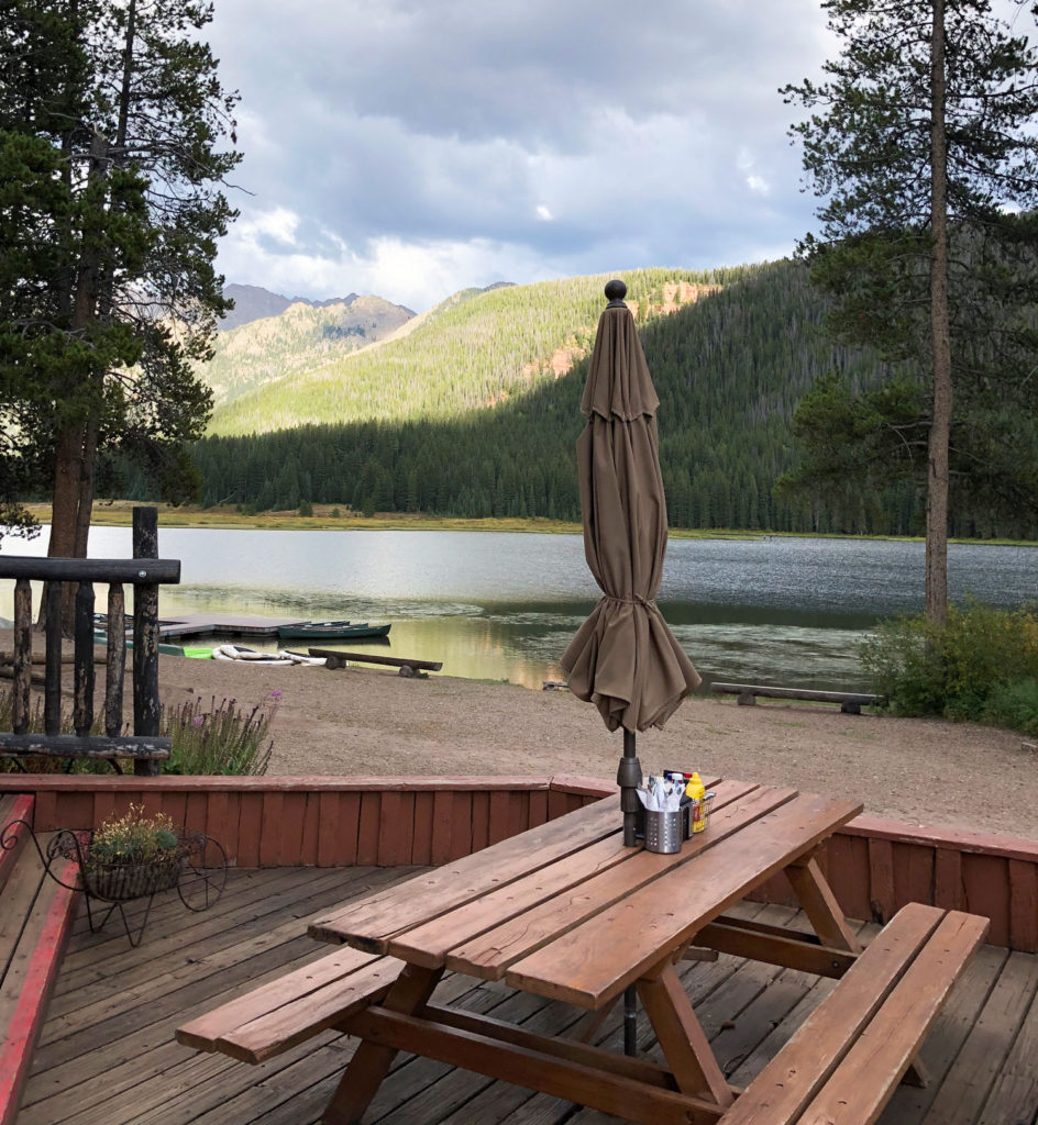 Views of the Gore Range and Piney Lake from the restaurant deck at Piney River Ranch.