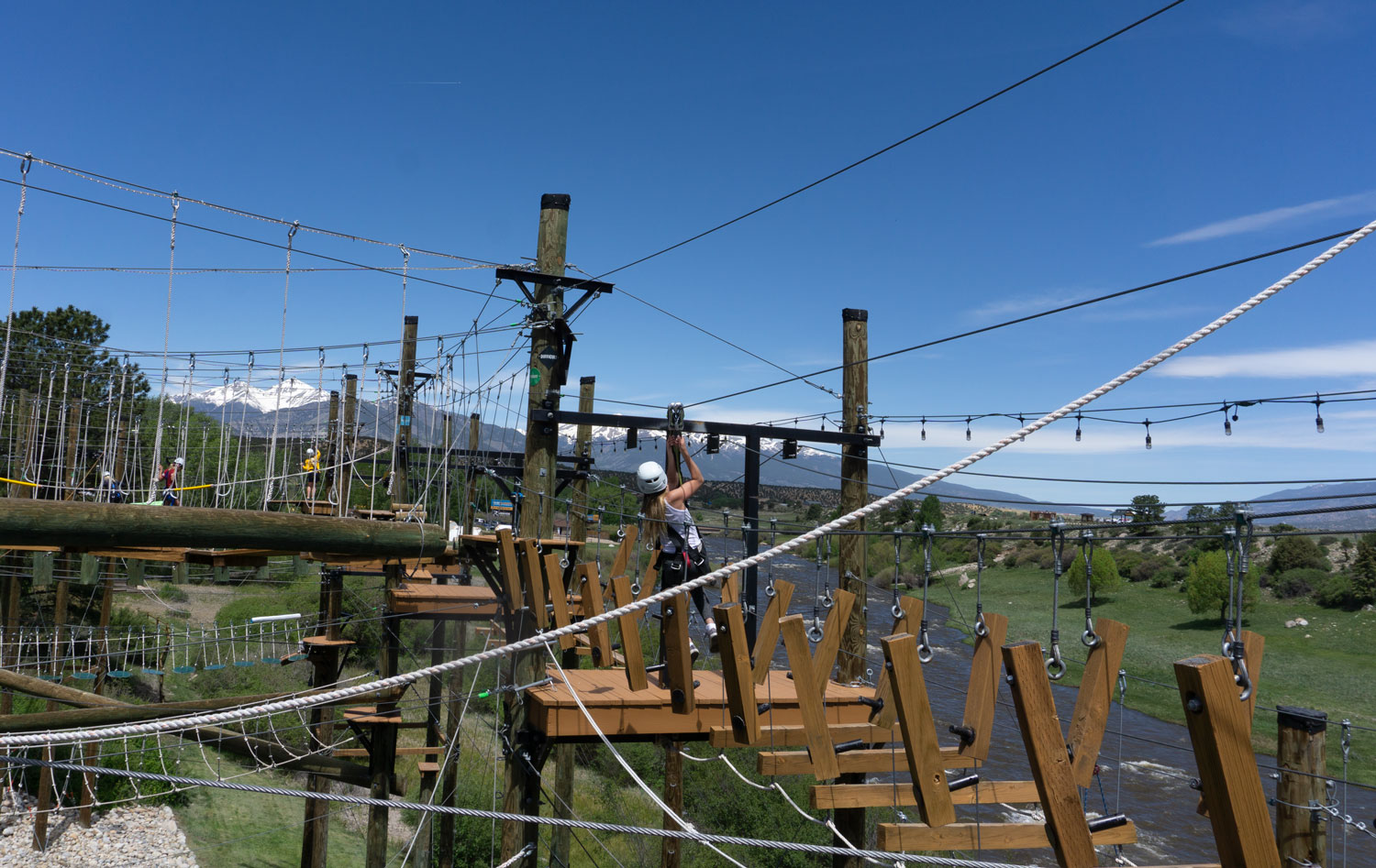 climbing high in the air at the Brown Adventure Park