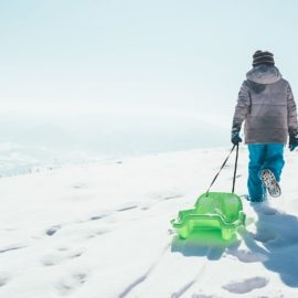 pulling sled up hill
