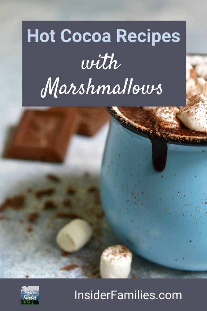 Nothing is better than hot chocolate with marshmallows after an exhilarating day in the snow sledding, ice skating or skiing. Here are fun, easy hot cocoa recipes that all will enjoy! #hotcocoa #hotchocolate