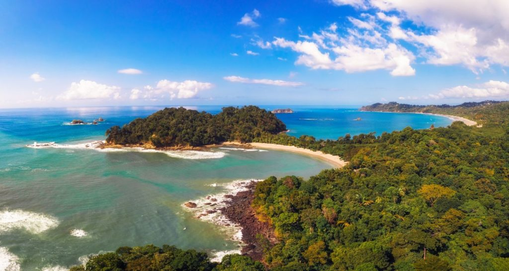 view of Manuel Antonio beaches in Costa Rica