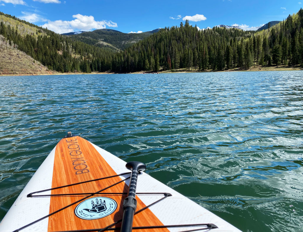 paddle boarding on a Colorado lake