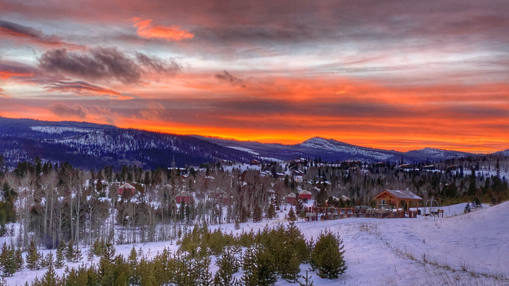 winter sunset view of snow mountain ranch