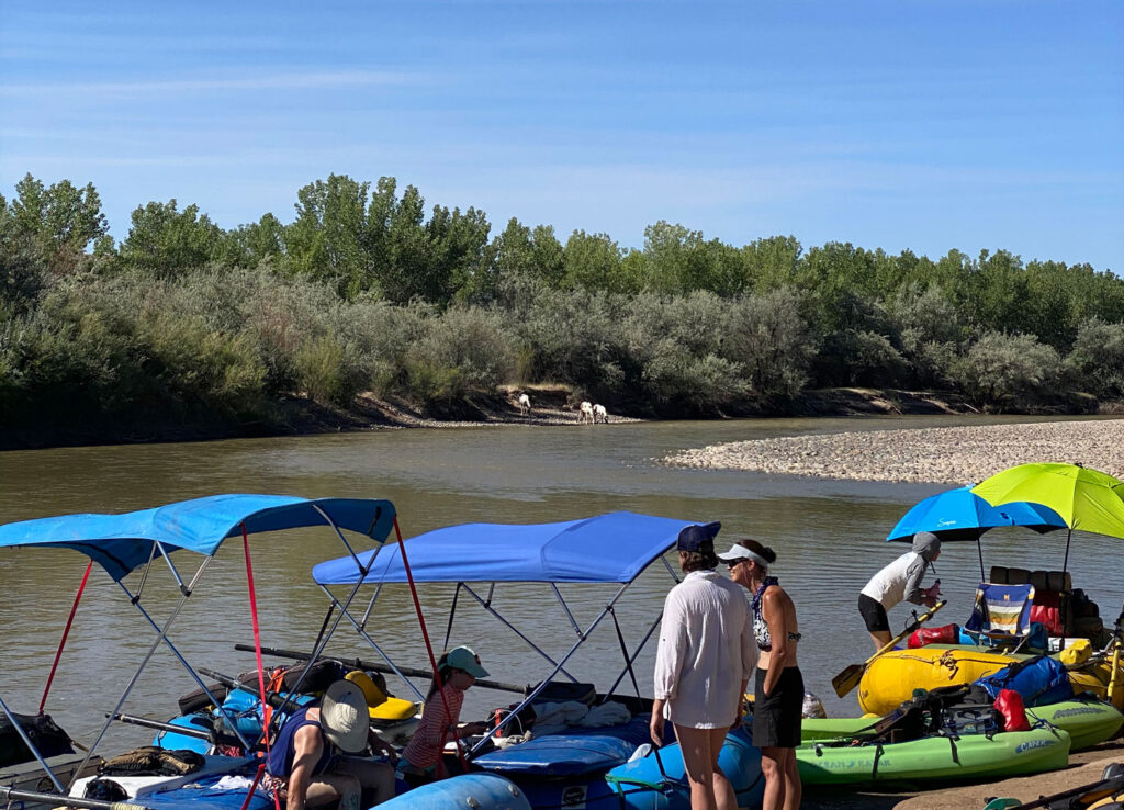 Rafts being loading and getting ready to launch from Sand Island in Bluff, Utah.