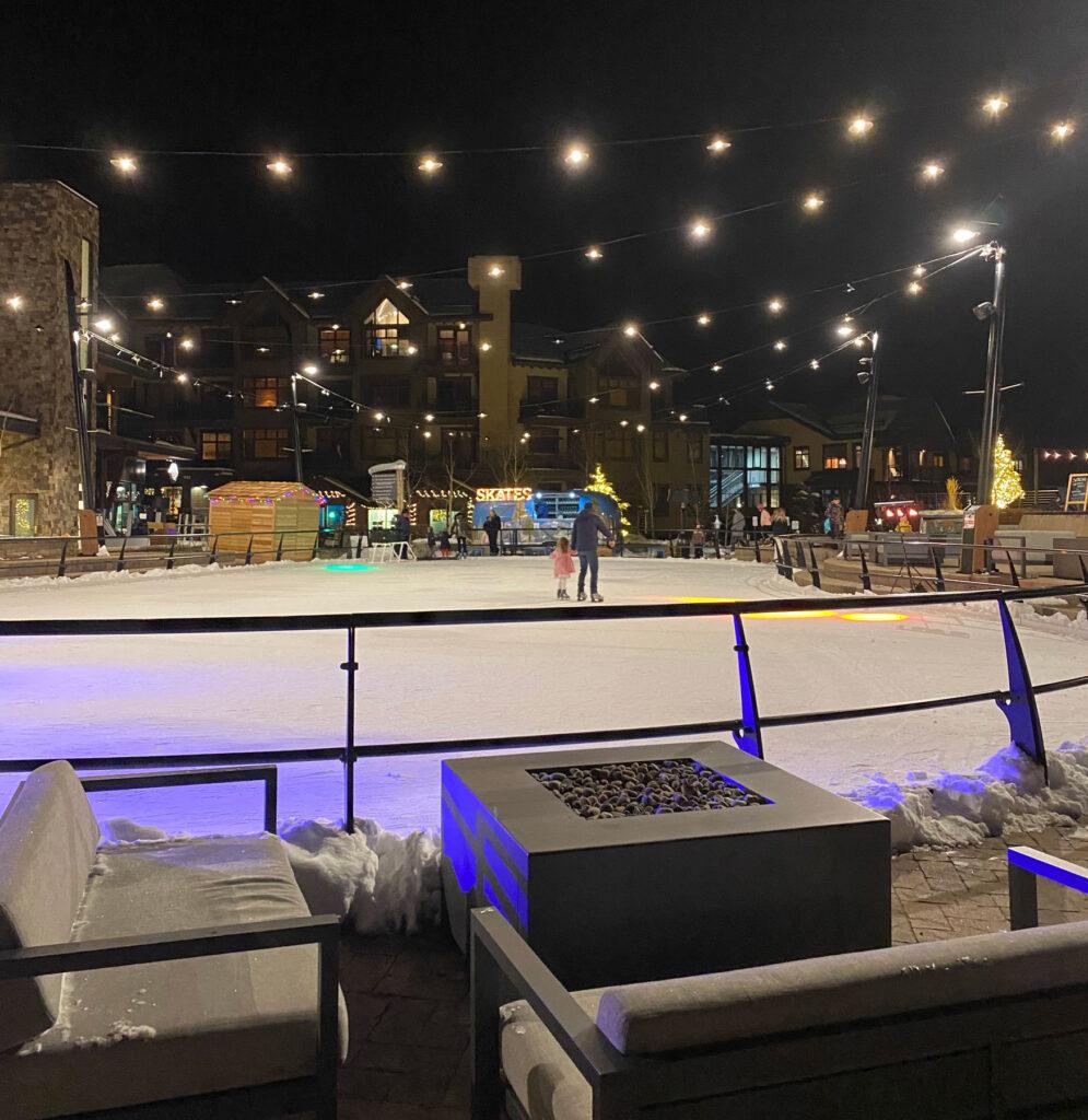 ice skating at night at Snowmass Colorado