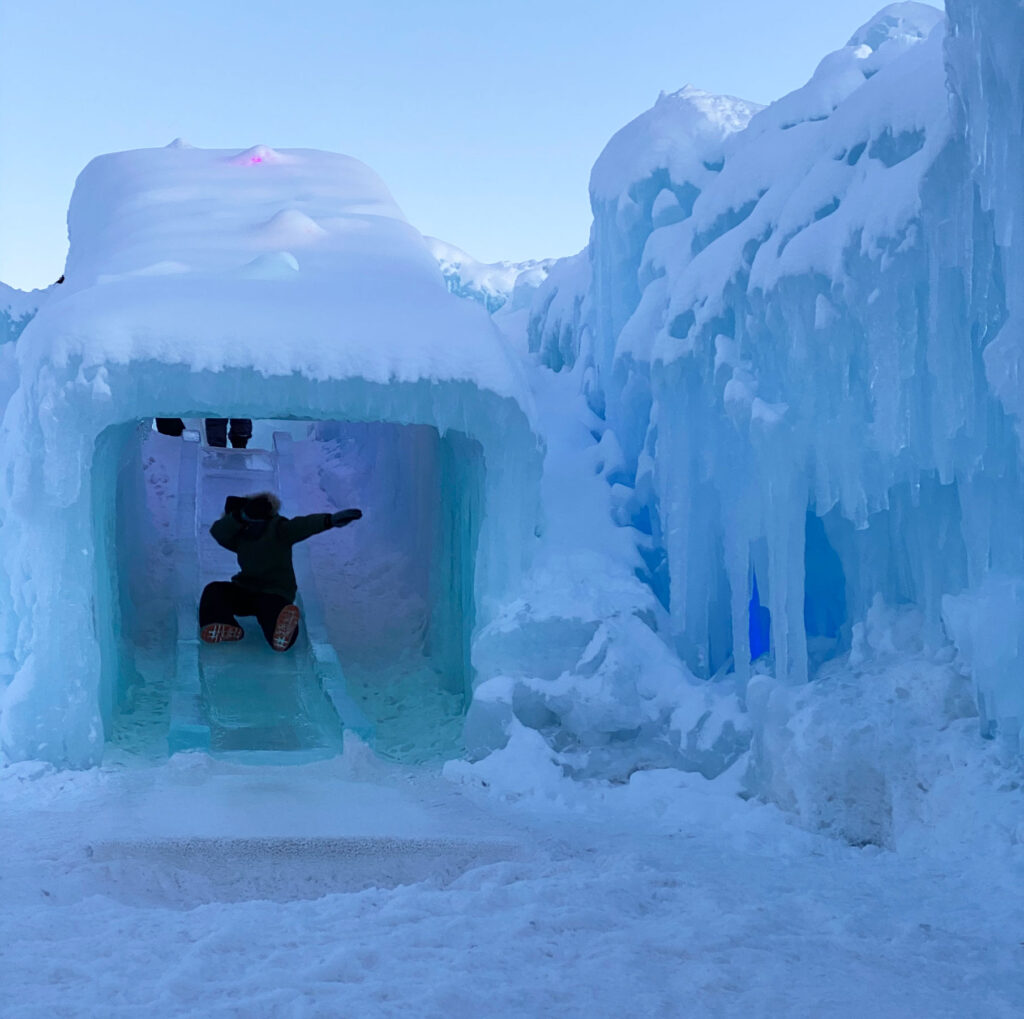 Ice slides at the Ice Castles in Colorado