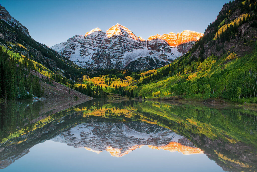 Maroon Bells one of the most photographed of Colorado landmarks