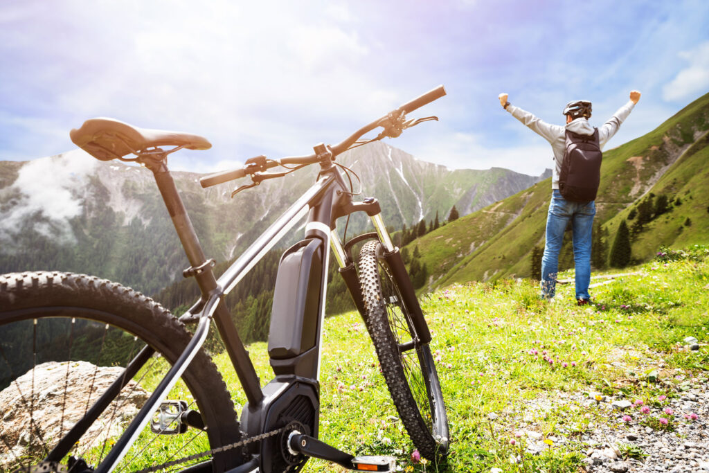 mountain ebike at the top of a mountain