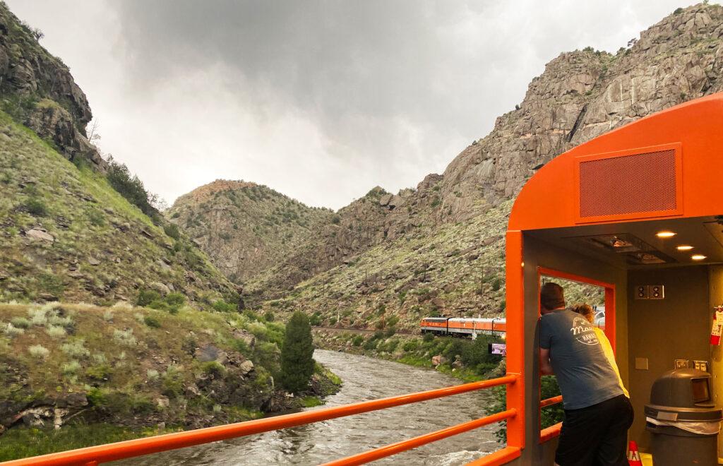 views aboard train through royal gorge